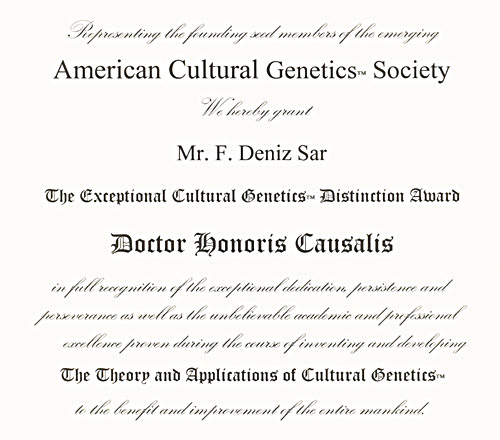 Deniz Sar - Deniz Şar - American Cultural Genetics Society Award - New York - USA - 2001